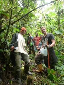 Luis and volunteers in forest good
