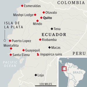 Map of Ecuador, showing some of the places featured in the road trip